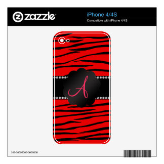 Monogram bright red zebra stripes decals for iPhone 4S