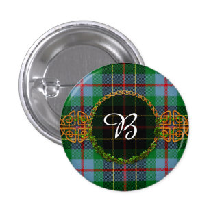 Monogram Brodie Hunting Tartan Pinback Button