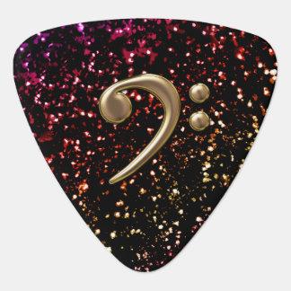 Monogram Bronze Bass Clef Dark Glitter Guitar Pick