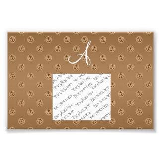 Monogram brown anchors polka dots photograph