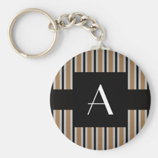 Monogram Brown and black stripes Basic Round Button Keychain