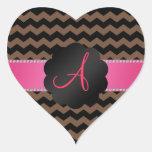 Monogram brown black chevrons heart stickers
