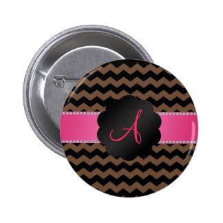 Monogram brown black chevrons pinback buttons