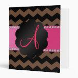 Monogram brown black chevrons vinyl binders