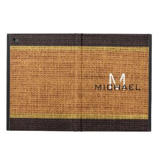 Monogram Brown Burlap Linen Rustic Jute Powis iPad Air 2 Case