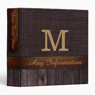 Monogram Brown Burlap Rustic Jute Look Wood Binder