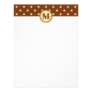 Monogram Brown Cream Polka Dot Pattern Letterhead