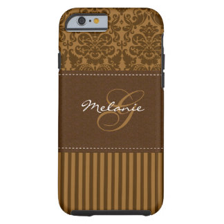 Monogram Brown Damask Stripe iPhone 6 case Vibe Ca