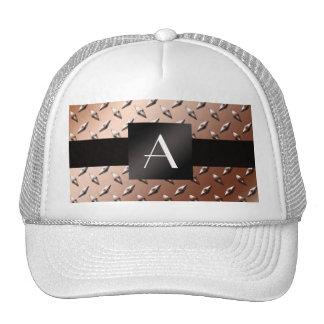 Monogram brown diamond steel plate mesh hat