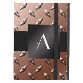 Monogram brown diamond steel plate iPad air cases