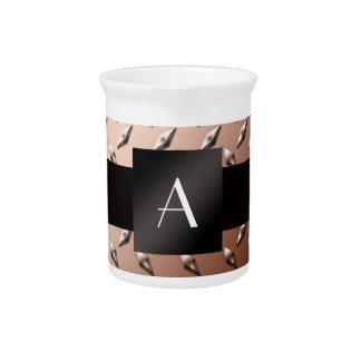 Monogram brown diamond steel plate pitcher