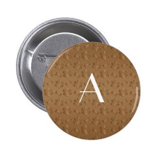 Monogram brown dog paw prints buttons