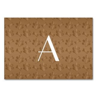 Monogram brown dog paw prints table card