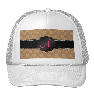 Monogram brown flowers trucker hats