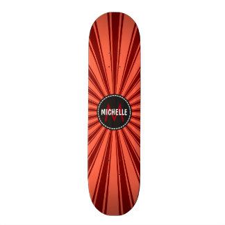 Monogram Brown Funky Sun Rays Pattern Skateboard Deck