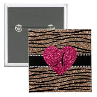 Monogram brown glitter zebra stripes pink heart pins