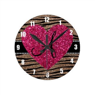 Monogram brown glitter zebra stripes pink heart clock