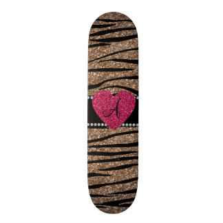 Monogram brown glitter zebra stripes pink heart skateboard deck