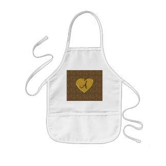 Monogram brown gold moroccan damask kids' apron