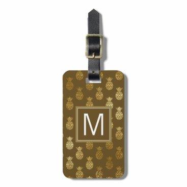monogram_bouquet Monogram   Brown & Gold Pineapples Luggage Tag