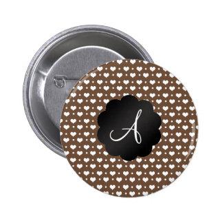 Monogram brown hearts and polka dots pinback button