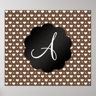 Monogram brown hearts and polka dots posters