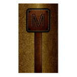 Monogram Brown Leather Look Double-Sided Standard Business Cards (Pack Of 100)