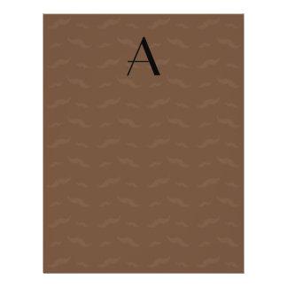 """Monogram brown mustache pattern 8.5"""" x 11"""" flyer"""