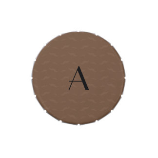 Monogram brown mustache pattern jelly belly tin