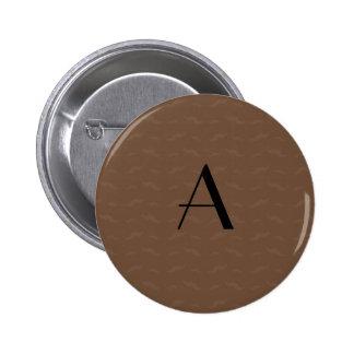 Monogram brown mustache pattern pinback button