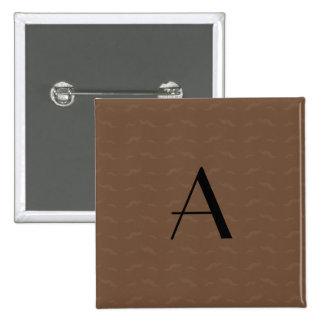 Monogram brown mustache pattern pinback buttons
