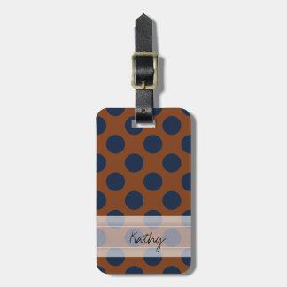 Monogram Brown Navy Blue Chic Polka Dot Pattern Bag Tag