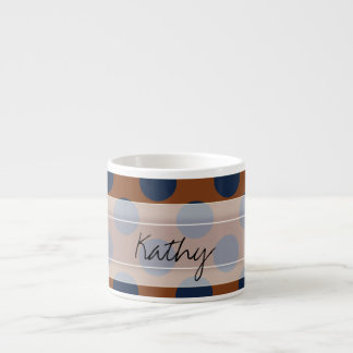 Monogram Brown Navy Blue Chic Polka Dot Pattern Espresso Cup