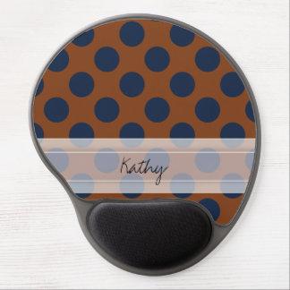 Monogram Brown Navy Blue Chic Polka Dot Pattern Gel Mouse Pad