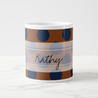 Monogram Brown Navy Blue Chic Polka Dot Pattern Large Coffee Mug