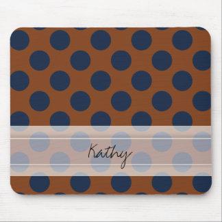 Monogram Brown Navy Blue Chic Polka Dot Pattern Mouse Pad