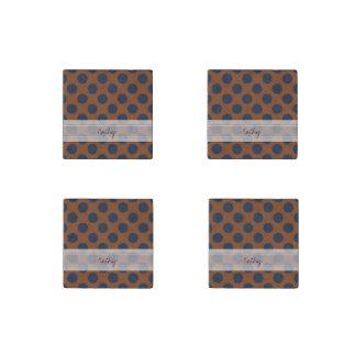 Monogram Brown Navy Blue Chic Polka Dot Pattern Stone Magnet