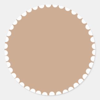 Monogram -Brown Pattern Classic Round Sticker
