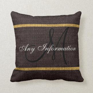Monogram Brown Rustic Burlap Jute Throw Pillow