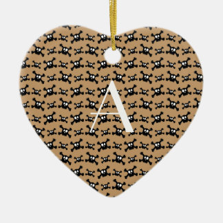 Monogram brown skulls pattern christmas tree ornaments