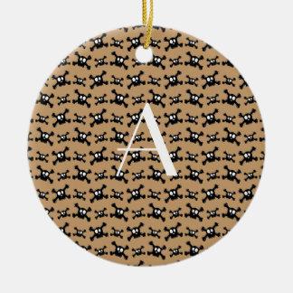 Monogram brown skulls pattern christmas tree ornament