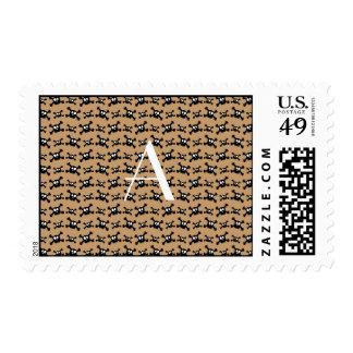 Monogram brown skulls pattern stamp
