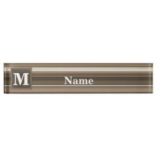 Monogram brown stripes desk name plate