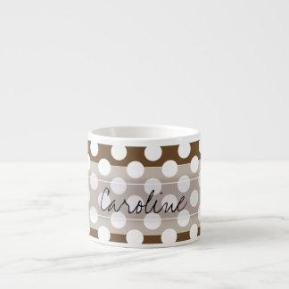 Monogram Brown White Trendy Fun Polka Dot Pattern 6 Oz Ceramic Espresso Cup