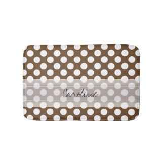 Monogram Brown White Trendy Fun Polka Dot Pattern Bath Mats