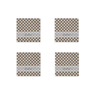Monogram Brown White Trendy Fun Polka Dot Pattern Stone Magnet