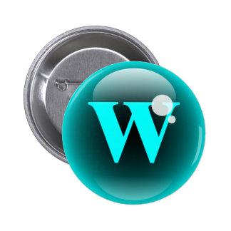 Monogram Bubble W 2 Inch Round Button