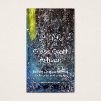 Monogram, Bubbles in Glass, Glassworker Business Card