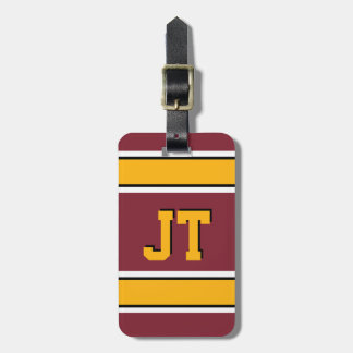 Monogram Burgundy and Gold Sports Stripes Tag For Luggage