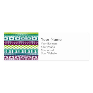 Monogram Burgundy Aqua Aztec Tribal Print Pattern Double-Sided Mini Business Cards (Pack Of 20)